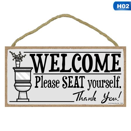 Michellem WELCOM Please SEAT Yourself Printed Wooden Plaque Sign Wall Hanging Welcome Sign Wood vintage bathroom Sign ()