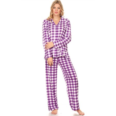 12150 Womens Sleepwear Pajamas Woman Long Sleeve Button Down set Purple M (Women Navy Striped Pj)