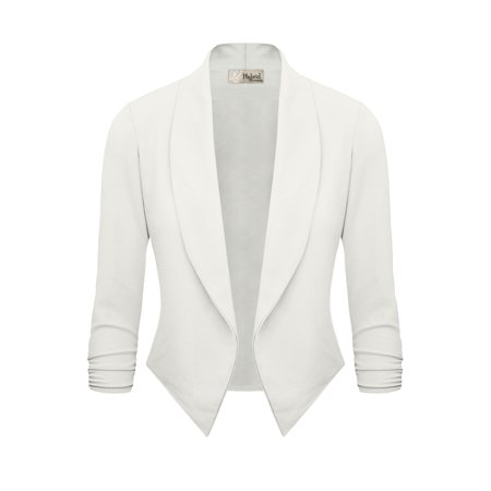 Hybrid   Company Womens Casual Work Office Open Front Blazer Jacket Made In Usa Ivory 3X