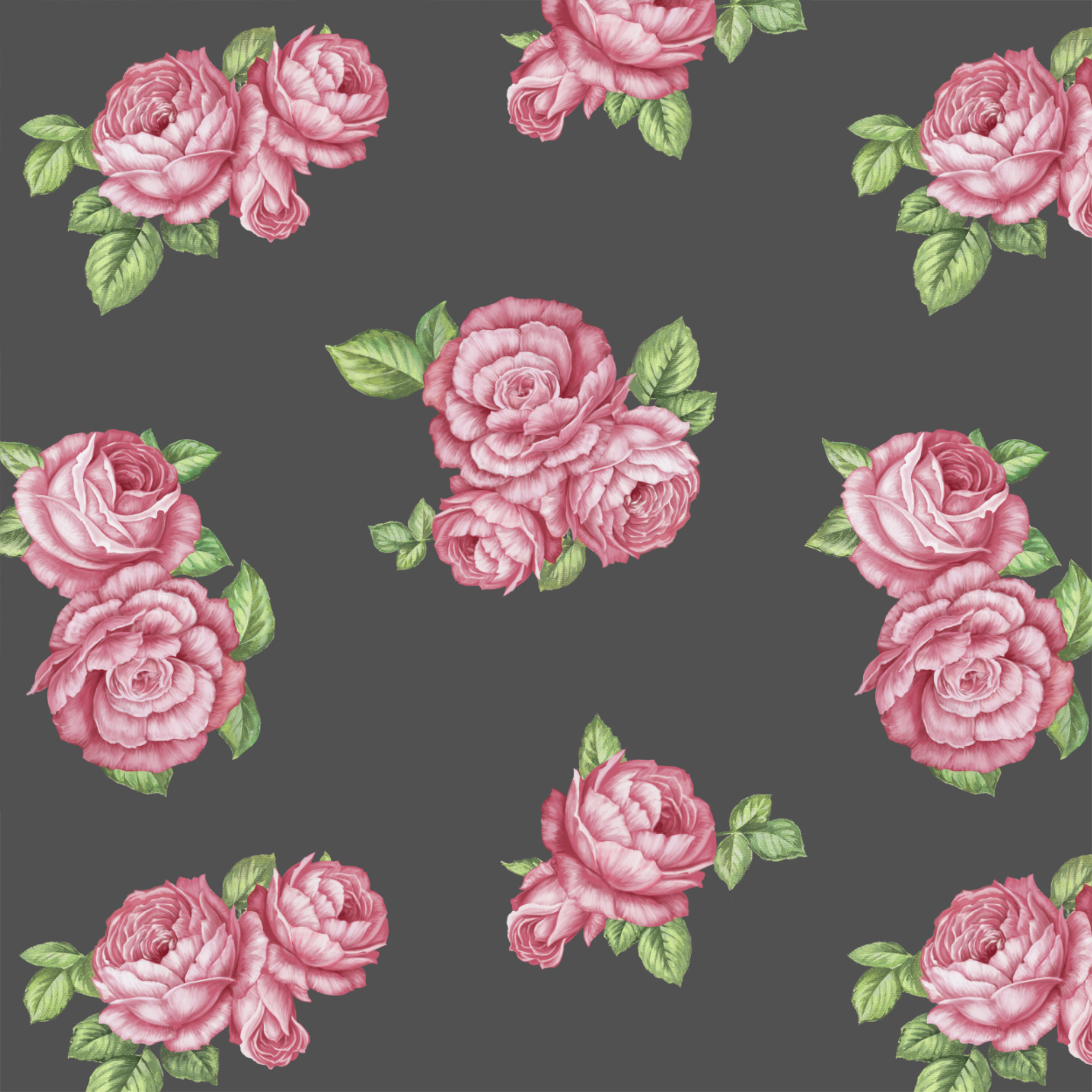 """David Textiles Anti-Pill Fleece 60"""" Bohemian Roses Grey Fabric, per Yard"""