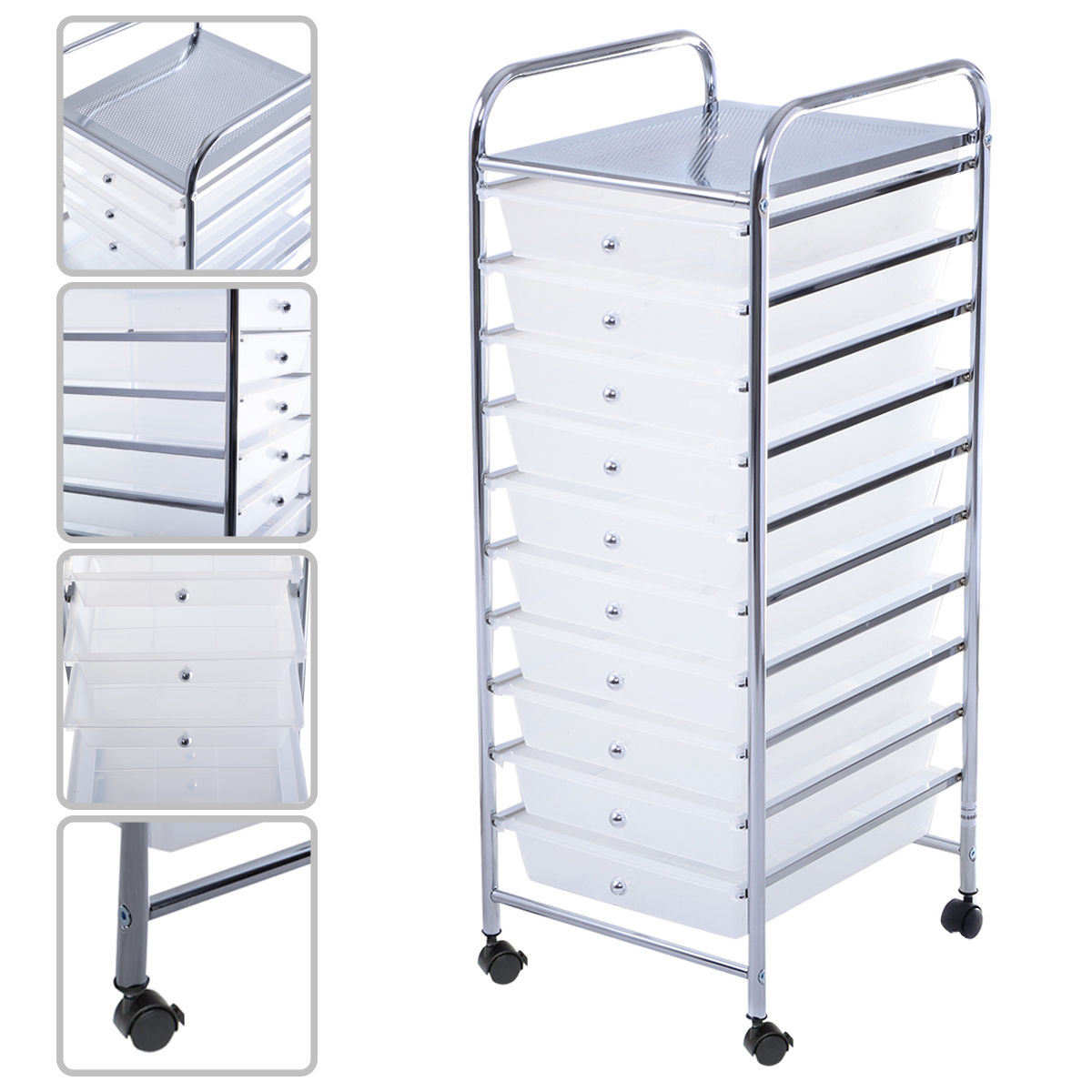 "GHP Home/Office White 14.6""Dx12.8""Wx33.8""H Steel Frame 10 Drawer Rolling Storage Cart"