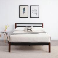 Modern Sleep Tilbury Wood Slat and Metal Platform Bed Frame with Headboard   Mattress Foundation, Multiple Sizes