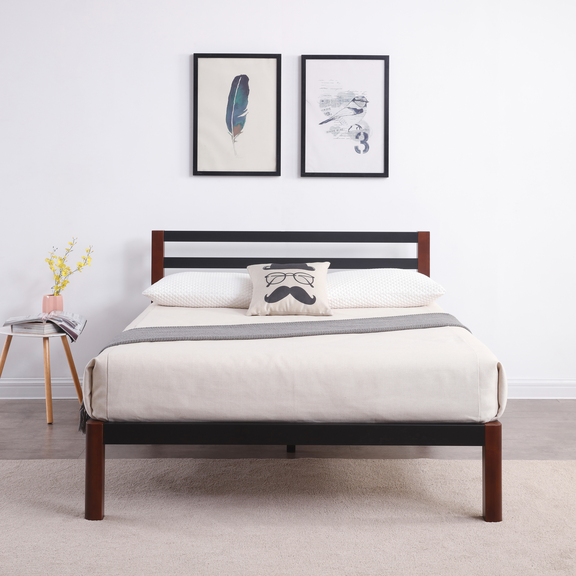 Modern Sleep Tilbury Wood Slat And Metal Platform Bed Frame With Headboard  | Mattress Foundation,