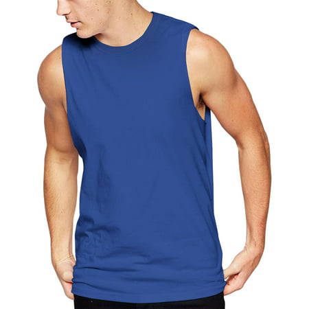 Plain Shirts Light (Mens Sleeveless Shirts Muscle Tank Top Gym Lightweight Plain Blank)