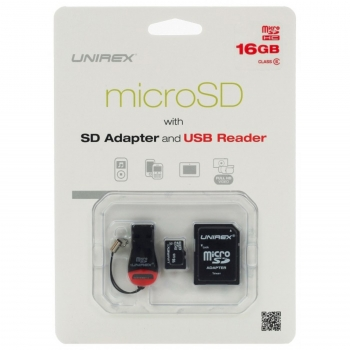 Unirex MicroSD High Capacity 16GB Class 6 with SD Adapter and USB Reader