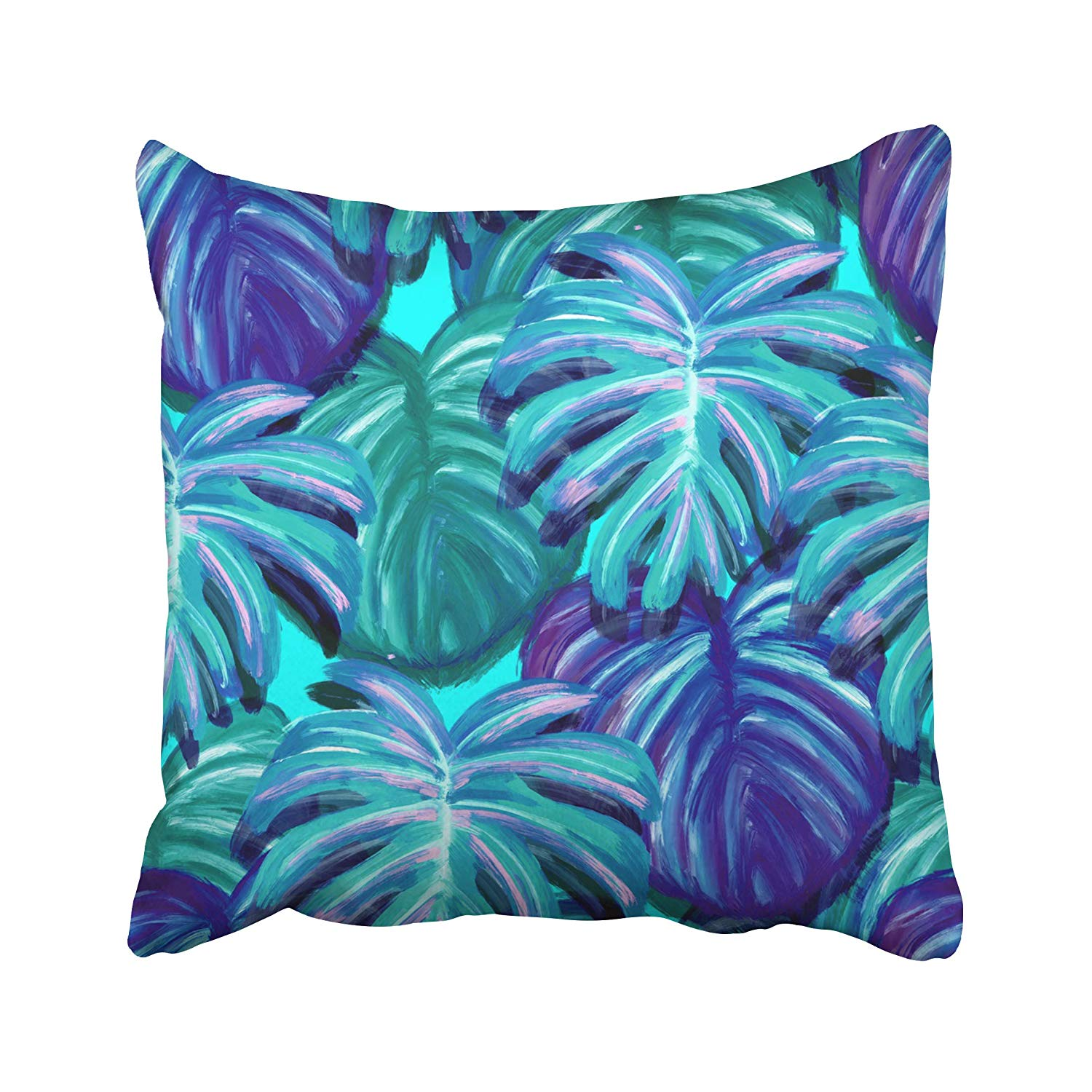 ARHOME Teal Tropical Leaf Design Featuring Green Blue Sketch Palm and  Monstera Plant Leaves Pillow Case Pillow Cover 20x20 inch Throw Pillow  Covers