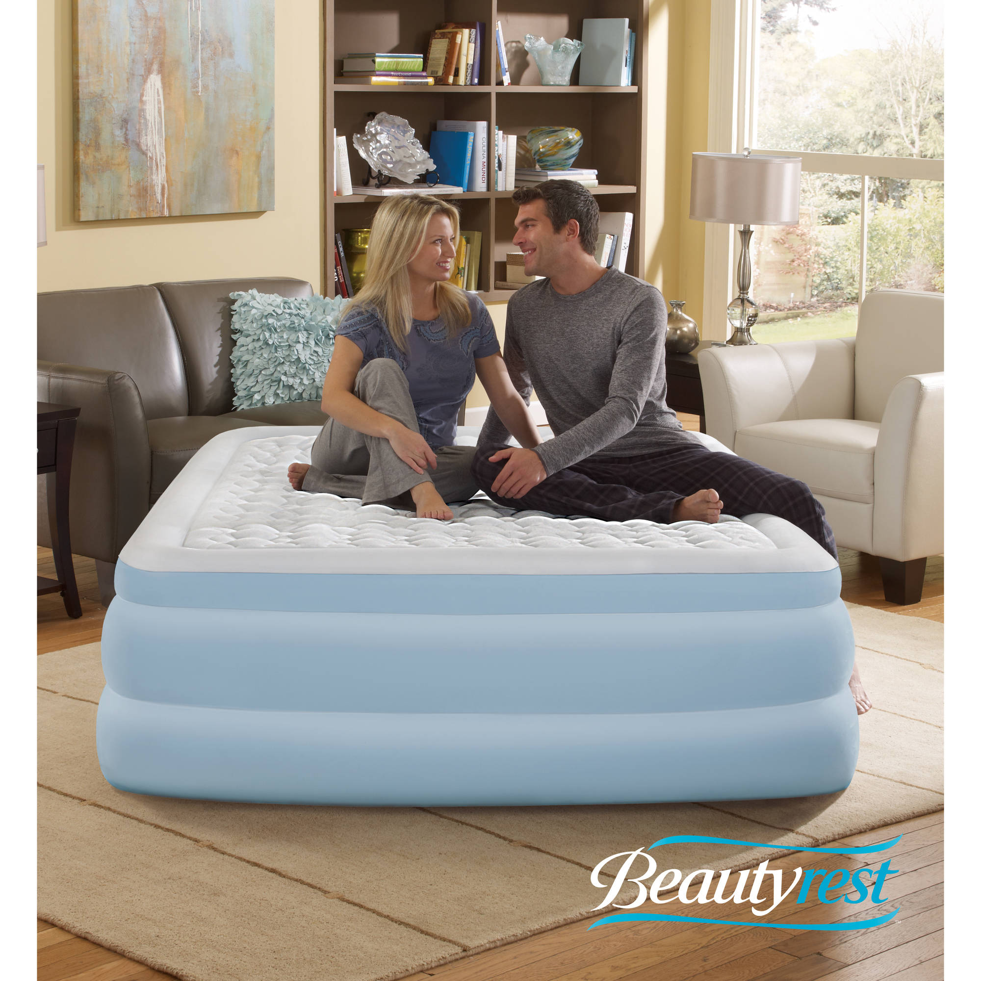 "Simmons Beautyrest Contour Aire 18"" Queen Raised Air Bed Mattress with Built-in Pump"