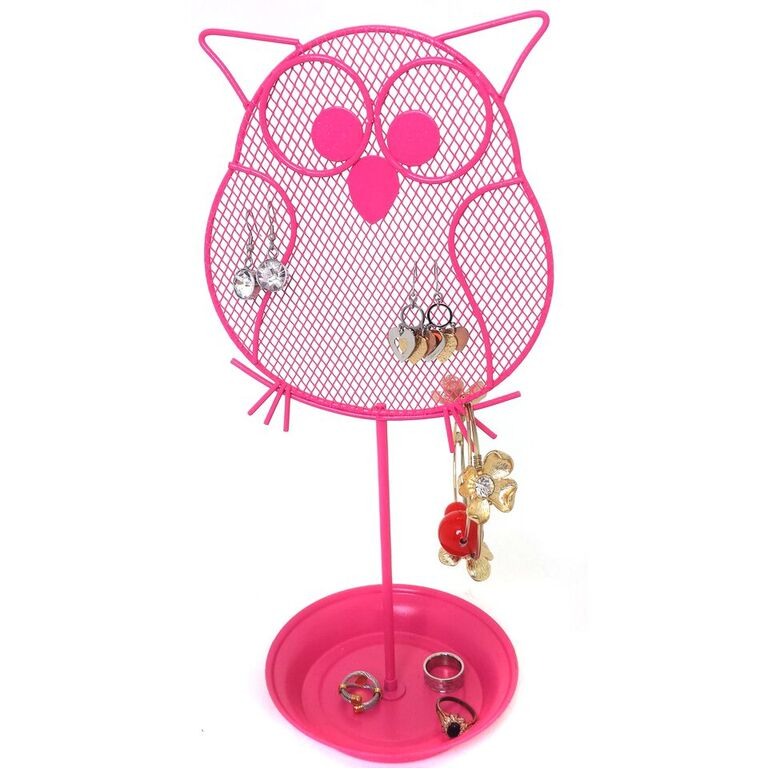 Cute Owl Jewelry Organizer Pink Earring Jewelry Stand Dresser Top Jewelry Organizer for Teens Earring Holder
