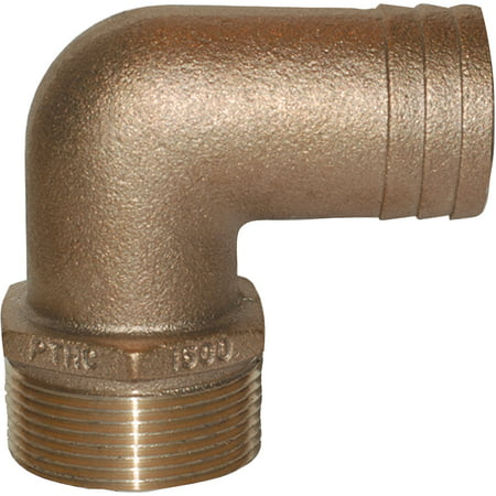 Groco PTHC Bronze Standard Flow 90 Degree Pipe to Hose Adapter with NP