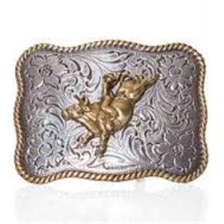 m&f western products 3706602 youth rectangle rope edge bull rider buckle - antique silver & antique (Bull Rider Buckle)