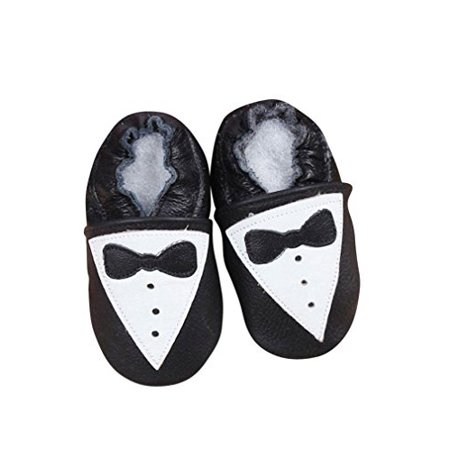Baby Moccasins with Tuxedo Design for Boy Girl Infant Toddler Pre Walker Crib Shoe with Embellished Design (Large (5.5 inches))