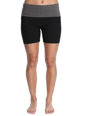 Blis Women Yoga Workout Short with Foldover Color Waistband Standard Plus and Maternity Red Size 3X