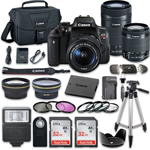 Canon EOS Rebel T6i 24.2 MP Digital SLR Camera Bundle with Canon EF-S 18-55mm f/3.5-5.6 IS STM Lens + Canon EF-S 55-250mm f/4-5.6 IS STM Lens + 2pc SanDisk 32GB Memory Cards + Accessory Kit