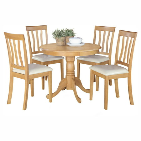 East West Furniture Antique 5 Piece Pedestal Round Dining Table Set with Faux Leather Seat Collection 5 Piece Pedestal Table