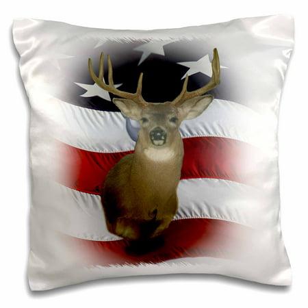 3dRose Misty Haze Whitetail Buck American Flag Deer - Pillow Case, 16 by 16-inch