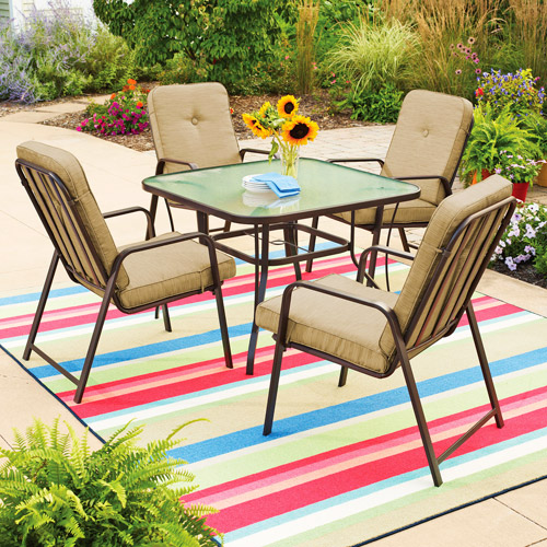 Mainstays Lawson Ridge 5-Piece Patio Dining Set, Tan, Seats 4