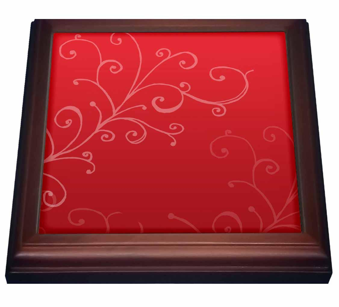 3dRose Stylish Swirl Red, Trivet with Ceramic Tile, 8 by 8-inch