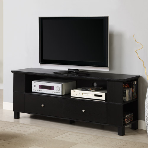 "Wood TV Media Storage Stand for TV's up to 65"" - Black"