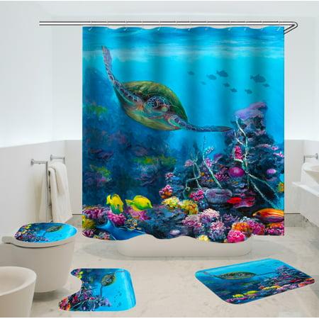 4 Piece Bath Rug Set3 Piece Non Slip Bathroom Rugs Fabric Shower