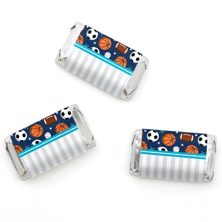 Go, Fight, Win - Sports - Mini Candy Bar Wrappers Baby Shower or Birthday Party Favors - 20 Count