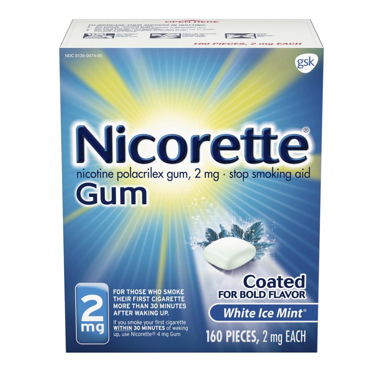 Nicorette Nicotine Gum to Stop Smoking, 2mg, White Ice Mint, 160 Count