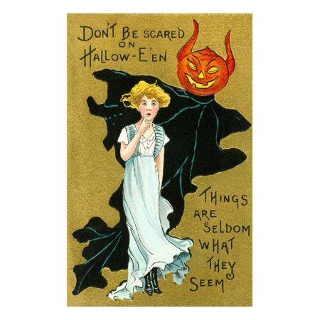 Pictures Of Jack O-lanterns (Halloween, Girl and Jack O'Lantern Goblin Print Wall Art )