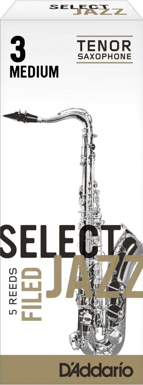 Daddario Select Jazz FIled Bb Tenor Sax Reeds 5ct, 3 Medium Strength by Rico