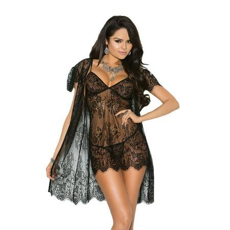 - Womens Pretty Plus Size Eyelash Lace Peignoir Babydoll Top Lingerie Coat Set