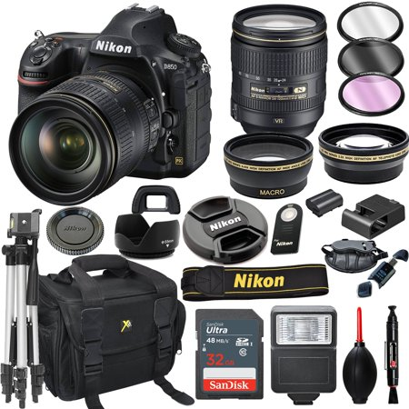 Nikon D850 DSLR Camera with 24-120mm VR Lens + 32GB Card, Tripod, Flash, and More (20pc Bundle)