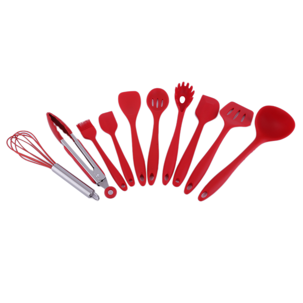 10 Piece/SET Home Kitchen Silicone Cooking Utensil Set High Temperature Resistant Kitchen Tool Set Cooking Tools, red