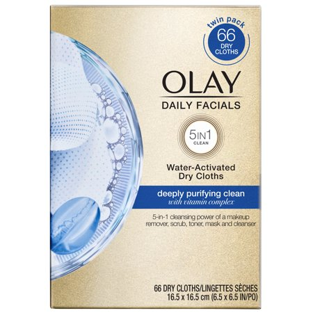 Olay Daily Facials Cleansing Cloths, Deep Purifying, 66 Count