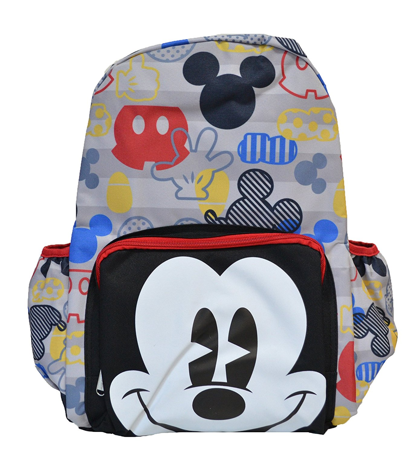Classic Mickey Mouse Face and All Over Print Mickey Symbols 16 In. Backpack
