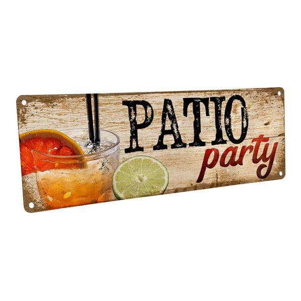 Outdoor Patio Party 4 X12 Metal Sign