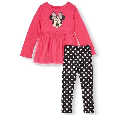 Minnie Mouse Outfit For Halloween (Long Sleeve Tulle Tunic and Polka Dot Leggings, 2pc Outfit Set (Toddler)