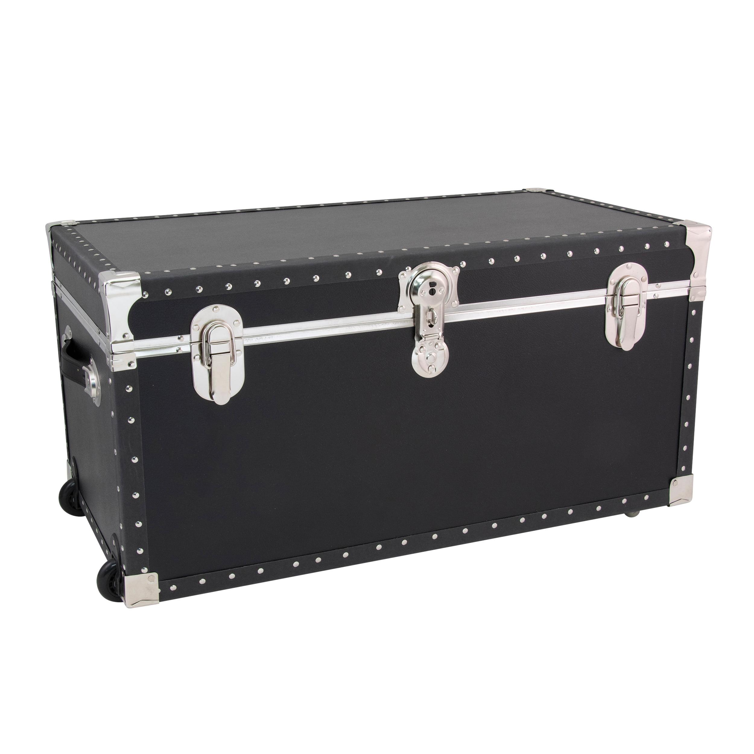 Seward Trunk Trailblazer 31-Inch Footlocker Trunk with Wheels, Black