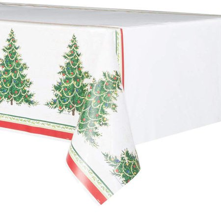 Classic Christmas Tree Plastic Tablecloth For Home Party Decor 84