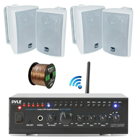 Pyle WiFi Bluetooth Stereo Amplifier 240-Watt Home Theatre Receiver, Dual Electronics 4