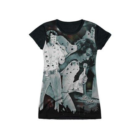 Elvis Presley King of Rock Concert White Jumpsuit Juniors Black Back T-Shirt Tee - Pro Elvis Jumpsuit