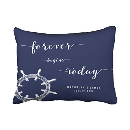 WinHome Rectangle Throw Pillow Covers Forever Nautical Navy Blue Gorgeous Nautical Decorative Pillow Covers