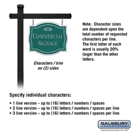Salsbury 1542JSF2 2 Sided Classic Black Post Commercial Sign with Silver Characters, Jade Green Sign - Fountain