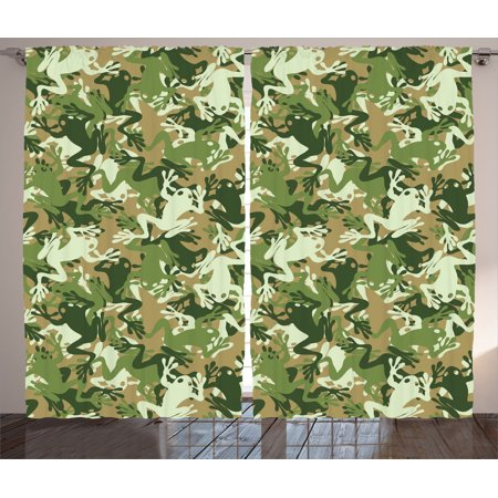 Animal Decor Curtains 2 Panels Set, Skull Camouflage Military Design With Various Frog Pattern Different Tones Artprint, Living Room Bedroom Accessories, By Ambesonne