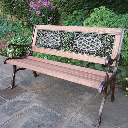 Oakland Living Mississippi Wood And Cast Iron Park Bench Walmart Com