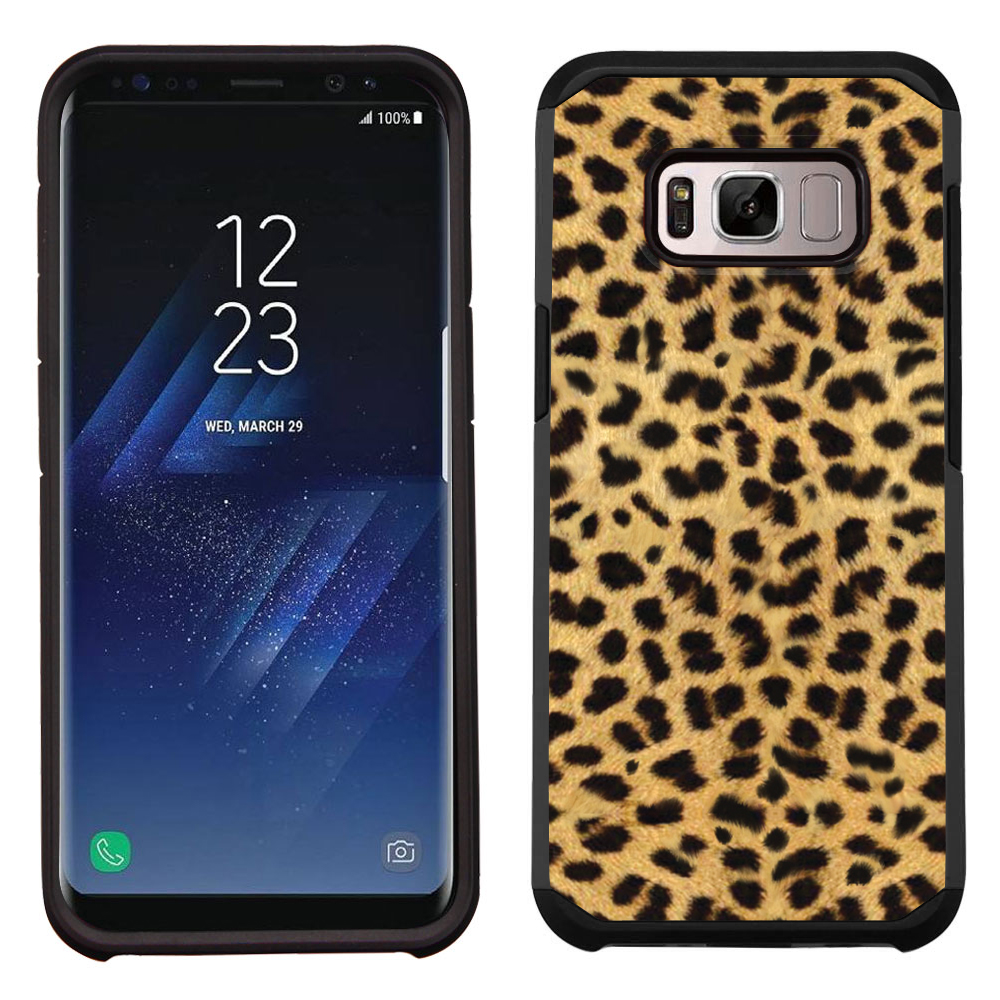 Hybrid Case for Samsung Galaxy S8, OneToughShield ® Dual Layer Shock Absorbing Phone Case (Black/Black) - Cheetah Gold/Black