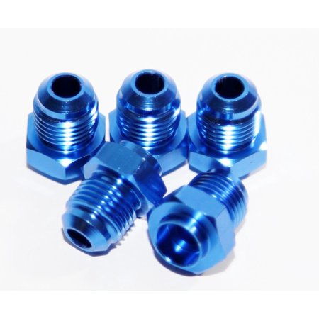 6AN AN-6 Male Thread Straight Weld on Flare Aluminum Anodized Fitting BLUE (5)