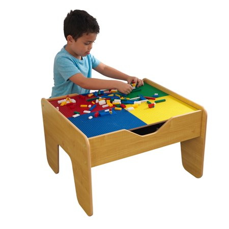KidKraft 2-in-1 Activity Table with Board - Natural with 230 accessories