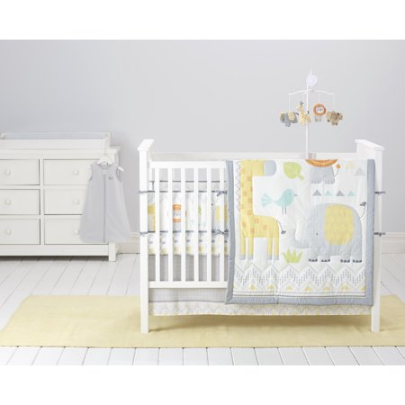 Cuddletime Newborn Baby Crib Bedding Set, Globetrotter, 6-piece (Yellow Crib Set)