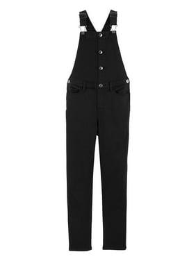 OshKosh B'gosh Little Girls' Button Front Overalls, Black, 5 Kids
