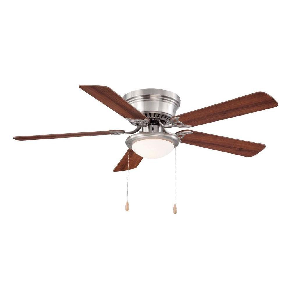 52 Brushed Nickel Hugger Ceiling Fan With Reversible Blades By Hampton Bay Walmart Com Walmart Com