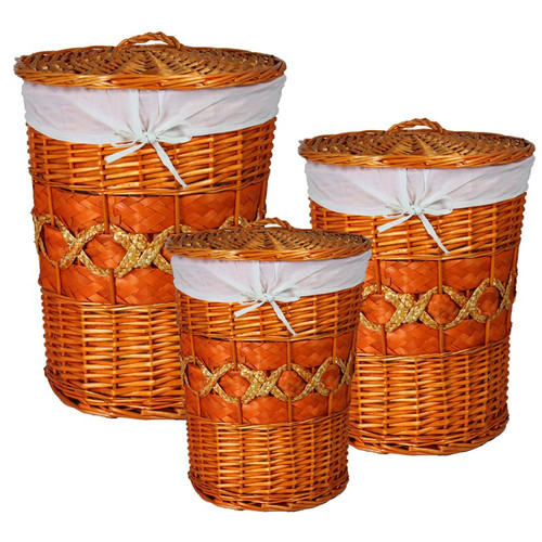 ESSENTIAL D COR & BEYOND, INC 3 Piece Wicker Laundry Set