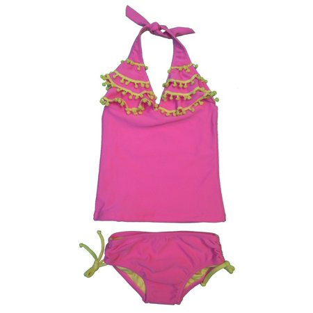 a53b62b40bc3b Girls Pink Yellow Pom-Pom Trimmed Halter Tie 2 Pc Tankini Swimsuit 8 ...